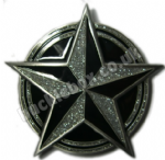 NAUTICAL STAR BLACK/SILVER Belt Buckle + display stand